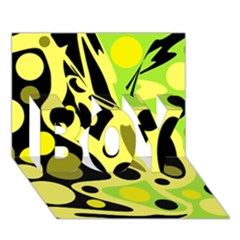 Green Abstract Art Boy 3d Greeting Card (7x5) by Valentinaart