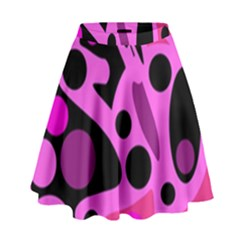 Pink abstract decor High Waist Skirt by Valentinaart