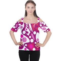 Magenta And White Decor Women s Cutout Shoulder Tee by Valentinaart