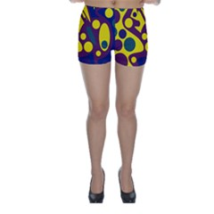 Deep blue and yellow decor Skinny Shorts by Valentinaart