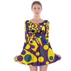 Deep blue and yellow decor Long Sleeve Skater Dress by Valentinaart