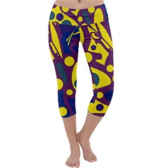 Deep blue and yellow decor Capri Yoga Leggings by Valentinaart
