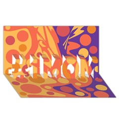 Orange And Blue Decor #1 Mom 3d Greeting Cards (8x4) by Valentinaart