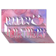 Galaxy Cotton Candy Pink And Blue Watercolor  Happy Birthday 3d Greeting Card (8x4) by CraftyLittleNodes