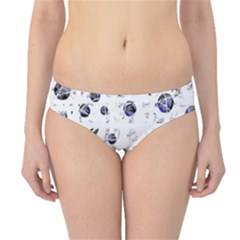 White And Deep Blue Soul Hipster Bikini Bottoms by Valentinaart
