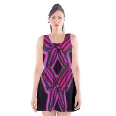Purple neon butterfly Scoop Neck Skater Dress by Valentinaart