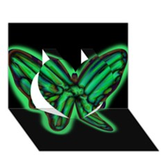 Green neon butterfly Heart 3D Greeting Card (7x5) by Valentinaart