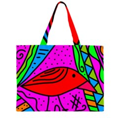 Red bird Large Tote Bag by Valentinaart