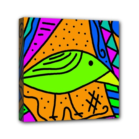 Green Bird Mini Canvas 6  X 6  by Valentinaart