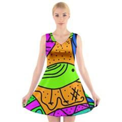 Green Bird V Neck Sleeveless Skater Dress by Valentinaart