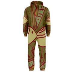 Brown bird Hooded Jumpsuit (Men)  by Valentinaart