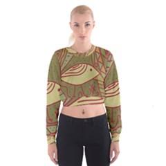 Brown bird Women s Cropped Sweatshirt by Valentinaart
