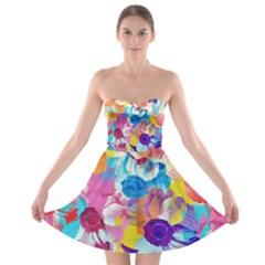 Anemones Strapless Bra Top Dress by DanaeStudio