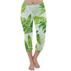 Fern Leaves Capri Winter Leggings  by DanaeStudio
