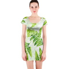 Fern Leaves Short Sleeve Bodycon Dress by DanaeStudio