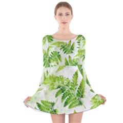 Fern Leaves Long Sleeve Velvet Skater Dress by DanaeStudio