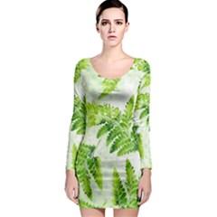 Fern Leaves Long Sleeve Bodycon Dress by DanaeStudio