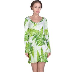 Fern Leaves Long Sleeve Nightdress by DanaeStudio