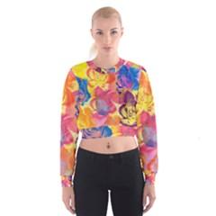 Pop Art Roses Women s Cropped Sweatshirt by DanaeStudio