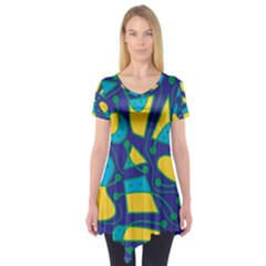 Playful abstract art - blue and yellow Short Sleeve Tunic  by Valentinaart