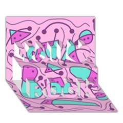 Playful abstract art - pink You Rock 3D Greeting Card (7x5) by Valentinaart