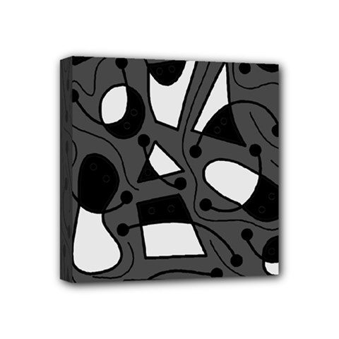 Playful Abstract Art   Gray Mini Canvas 4  X 4  by Valentinaart