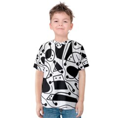 Playful abstract art - white and black Kid s Cotton Tee by Valentinaart