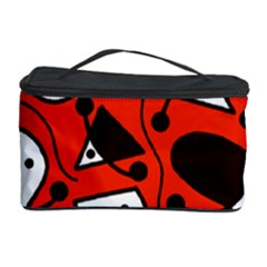 Playful Abstract Art   Red Cosmetic Storage Case by Valentinaart