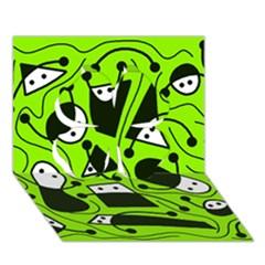 Playful Abstract Art   Green Clover 3d Greeting Card (7x5) by Valentinaart