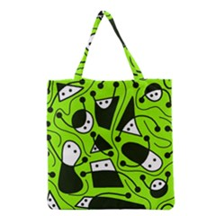 Playful Abstract Art   Green Grocery Tote Bag by Valentinaart