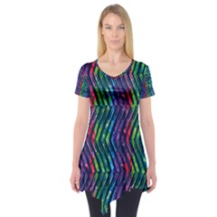 Colorful Lines Short Sleeve Tunic  by DanaeStudio