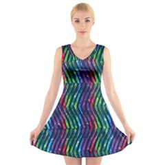 Colorful Lines V Neck Sleeveless Dress by DanaeStudio