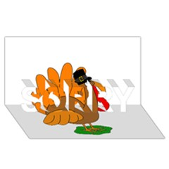 Thanksgiving Turkey   Transparent Sorry 3d Greeting Card (8x4) by Valentinaart