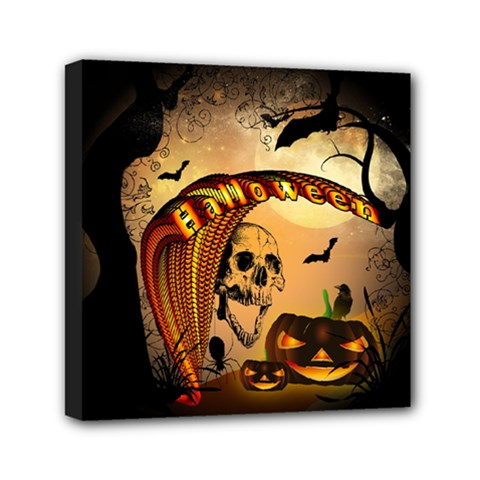 Halloween, Funny Pumpkin With Skull And Spider In The Night Mini Canvas 6  X 6  by FantasyWorld7