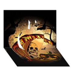 Halloween, Funny Pumpkin With Skull And Spider In The Night Apple 3d Greeting Card (7x5) by FantasyWorld7