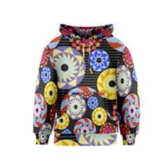 Colorful Retro Circular Pattern Kids  Pullover Hoodie by DanaeStudio