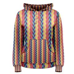 Colorful Chevron Retro Pattern Women s Pullover Hoodie by DanaeStudio