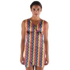 Colorful Chevron Retro Pattern Wrap Front Bodycon Dress by DanaeStudio