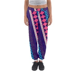 Purple And Pink Retro Geometric Pattern Women s Jogger Sweatpants by DanaeStudio