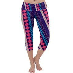 Purple And Pink Retro Geometric Pattern Capri Yoga Leggings by DanaeStudio