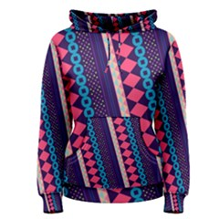 Purple And Pink Retro Geometric Pattern Women s Pullover Hoodie by DanaeStudio