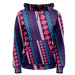 Purple and Pink Retro Geometric Pattern Women s Pullover Hoodie