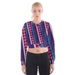 Purple and Pink Retro Geometric Pattern Women s Cropped Sweatshirt
