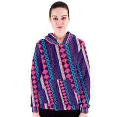 Purple And Pink Retro Geometric Pattern Women s Zipper Hoodie by DanaeStudio