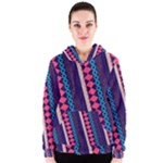 Purple and Pink Retro Geometric Pattern Women s Zipper Hoodie