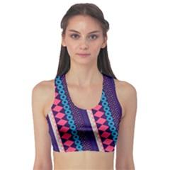 Purple And Pink Retro Geometric Pattern Sports Bra by DanaeStudio