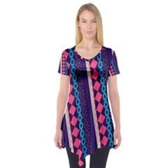 Purple And Pink Retro Geometric Pattern Short Sleeve Tunic  by DanaeStudio