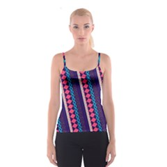 Purple And Pink Retro Geometric Pattern Spaghetti Strap Top by DanaeStudio