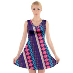 Purple And Pink Retro Geometric Pattern V Neck Sleeveless Dress by DanaeStudio
