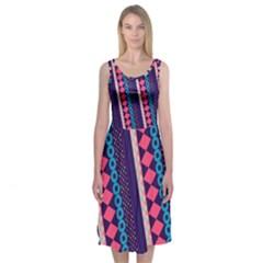 Purple And Pink Retro Geometric Pattern Midi Sleeveless Dress by DanaeStudio